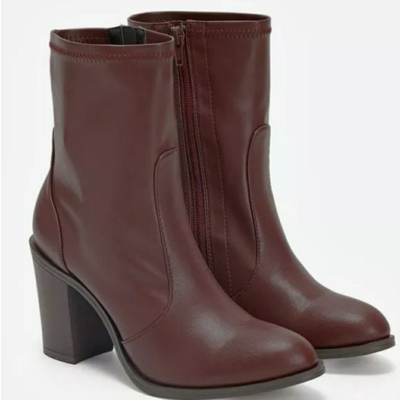 best sneakers new appearance outlet store JustFab Faux Leather Burgundy Booties NWT